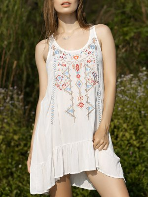 Embroidery Scoop Neck Flouncing Dress - White