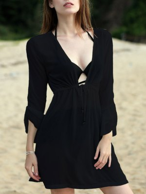 Pure Color Plunging Neck Half Sleeve Chiffon Dress - Black