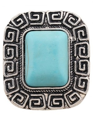 Faux Turquoise Square Shape Ring - Silver