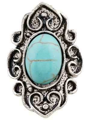 Faux Turquoise Embossed Flame Ring - Silver