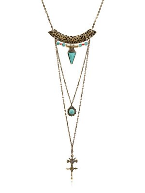 Faux Gem Carving Cross Necklace - Golden