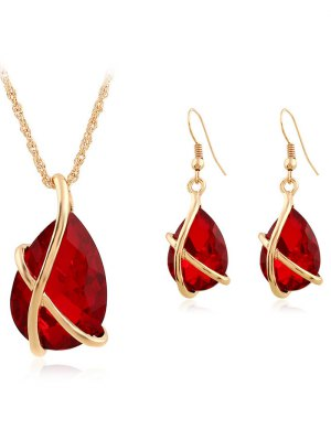 Faux Crystal Teardrop Cross Necklace And Earrings - Red