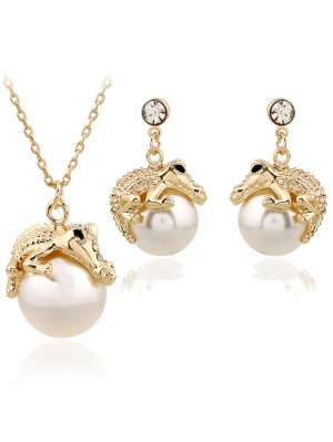 Faux Pearl Crocodile Necklace And Earrings - Golden