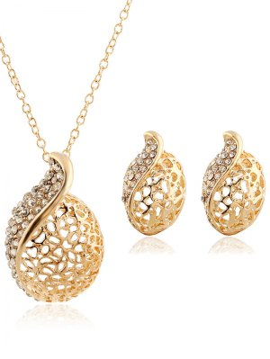 Rhinestone Hollowed Necklace And Earrings - Golden
