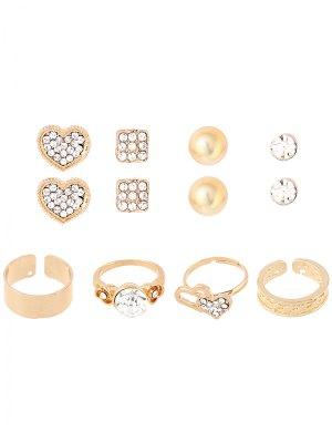 Rhinestone Heart Rings And Earrings - Golden