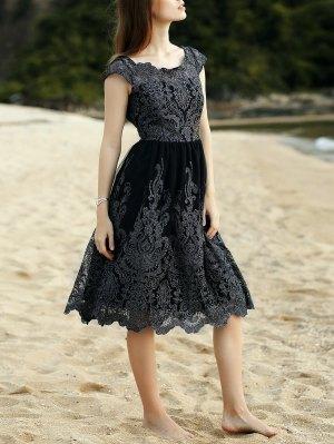 Lace Scoop Neck Short Sleeve Midi Dress - Black