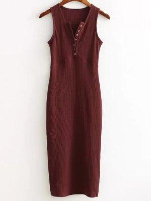 Vestido Acanalado Lado De Hendidura - Vino Rojo