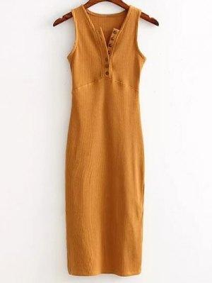 Vestido Acanalado Lado De Hendidura - Terroso
