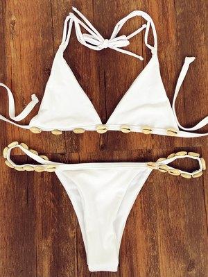 Shell Halter Strappy Bikini Set - White