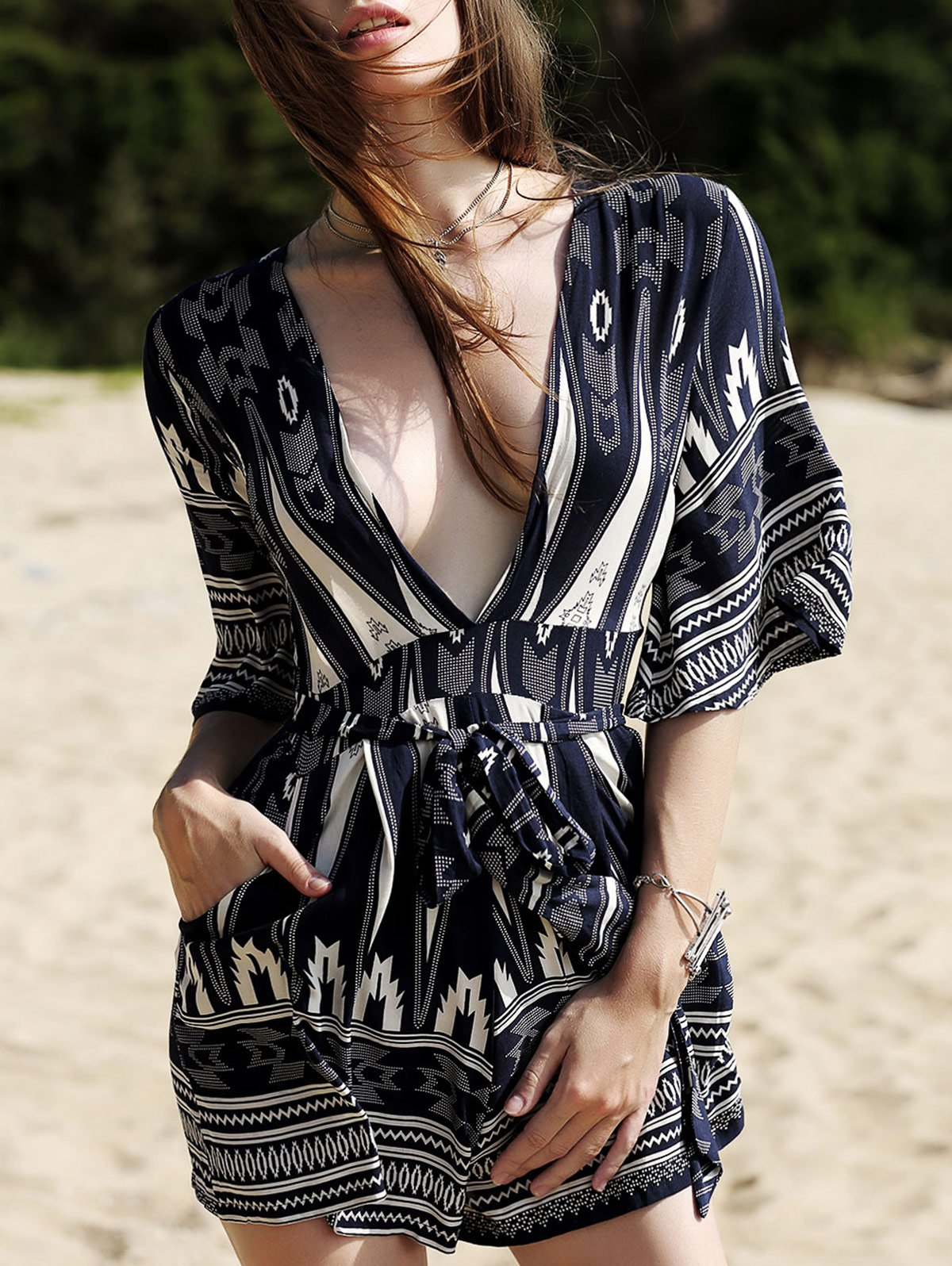 Printed 3/4 Sleeve Plunging Neck Romper