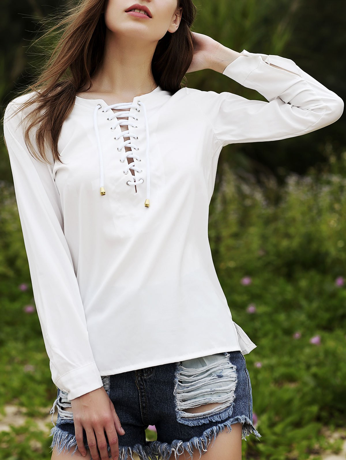Round Neck Long Sleeve Lace Up Chiffon Blouse