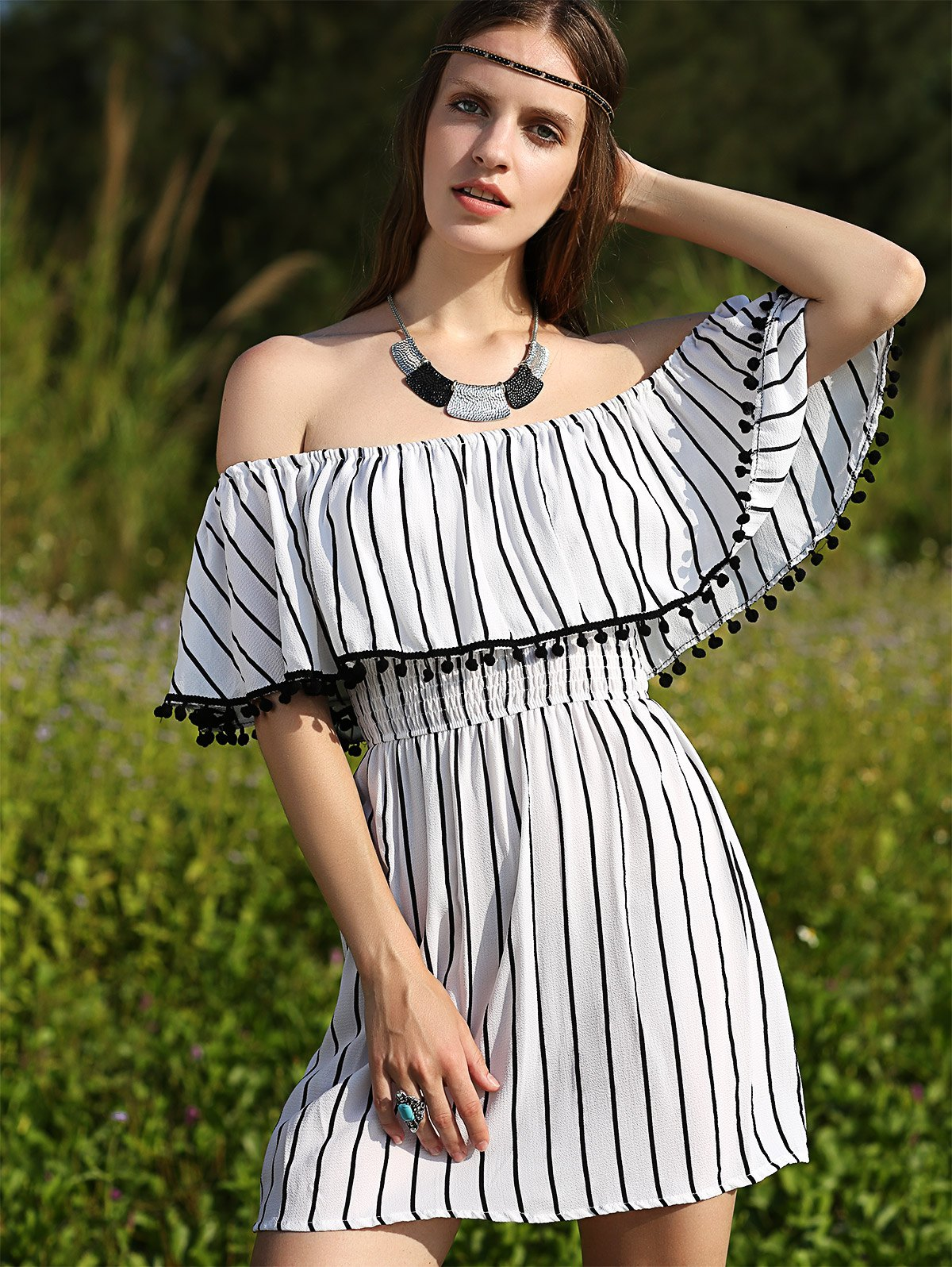 Striped Short Sleeve Off The Shoulder Dress