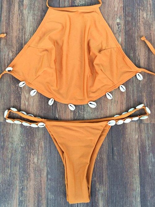 Halter Backless Shelled Bikini Set