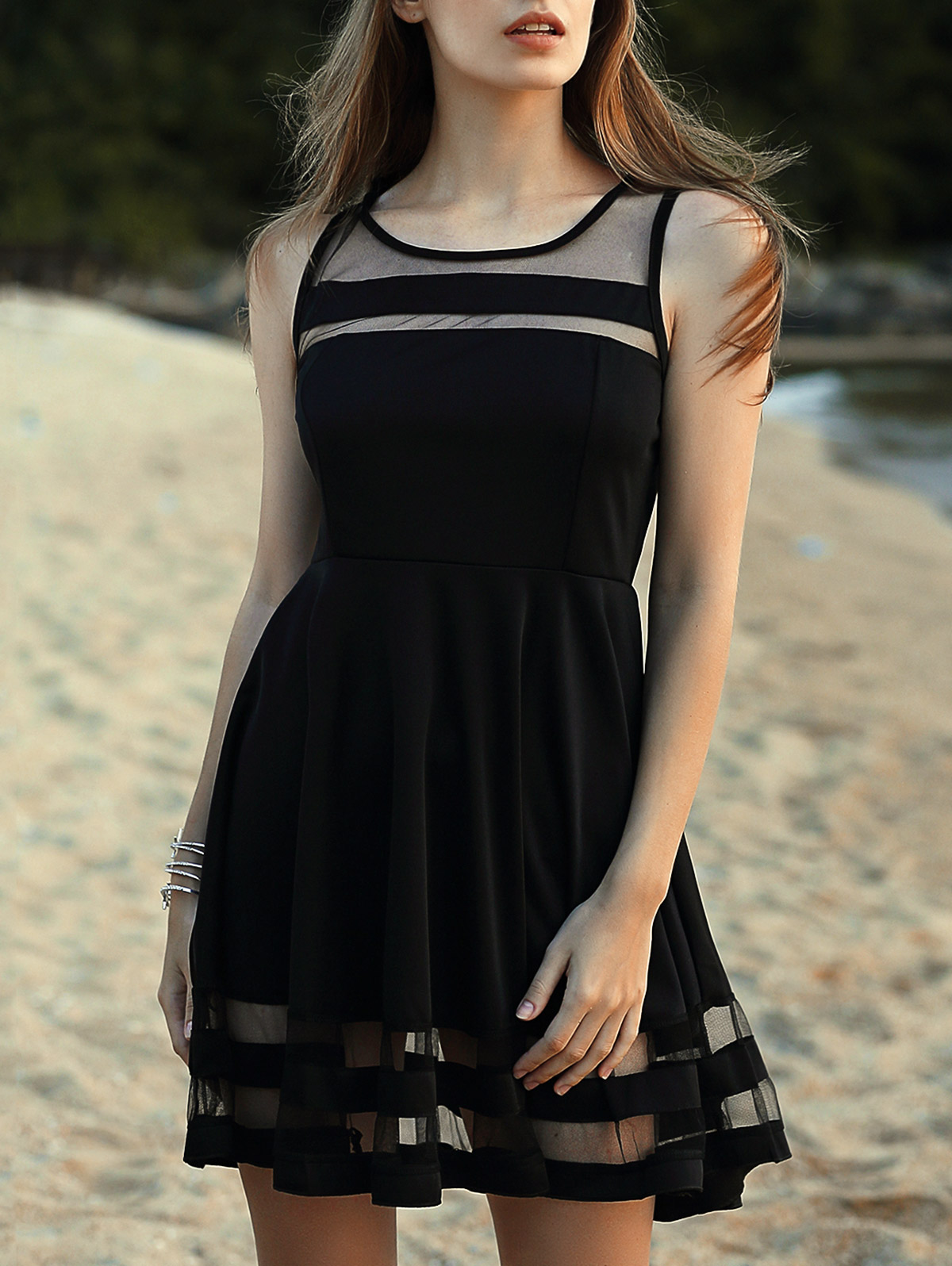 Round Neck Sleeveless Voile Spliced Black Dress