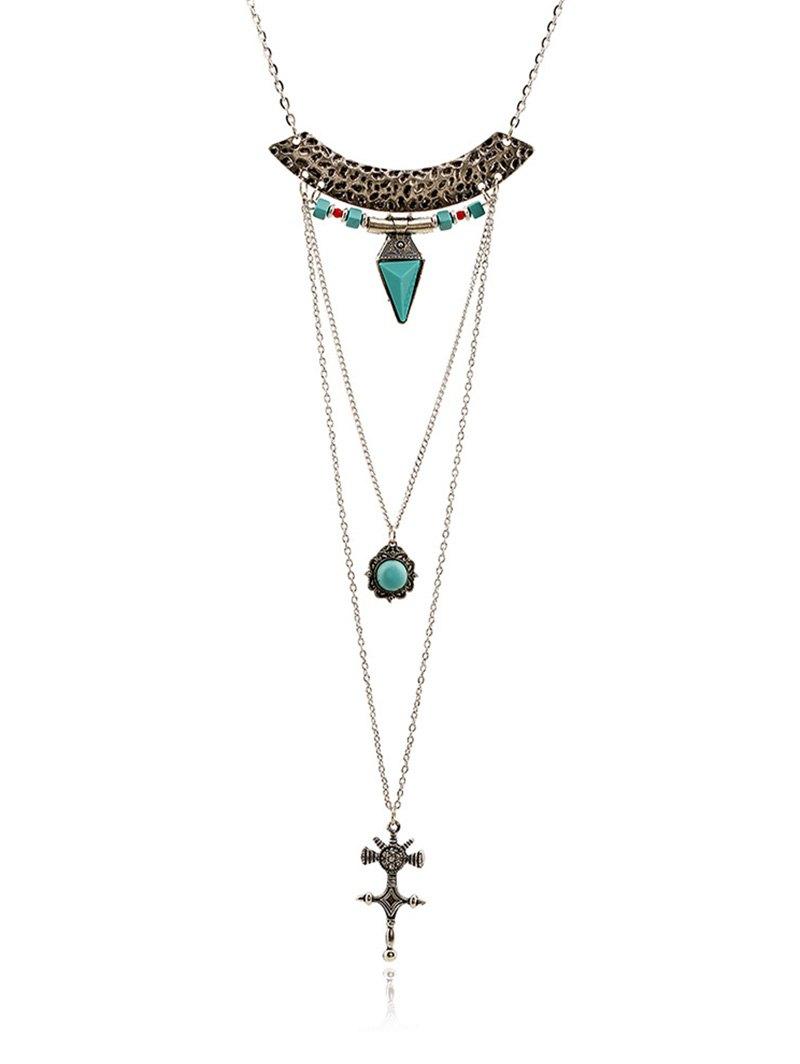 Faux Gem Carving Cross Necklace