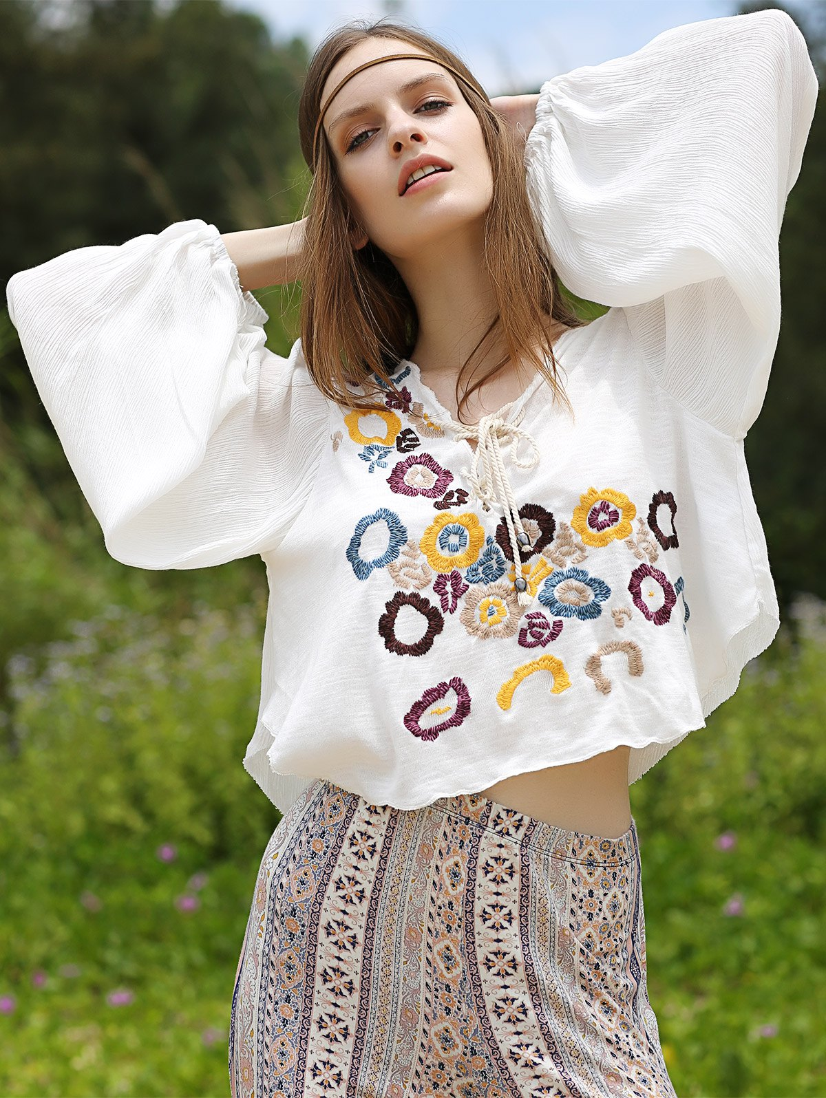 Flower Embroidery Lace Up Blouse