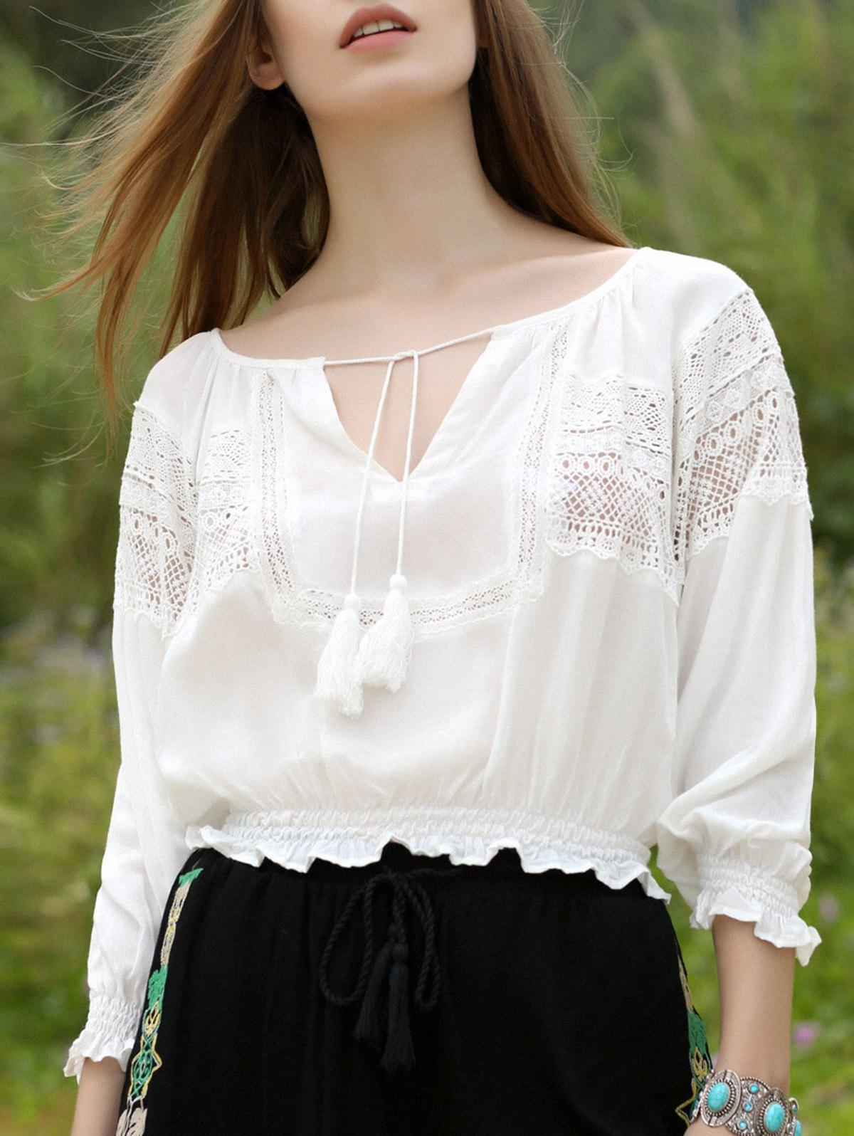 Lantern Sleeve White Top