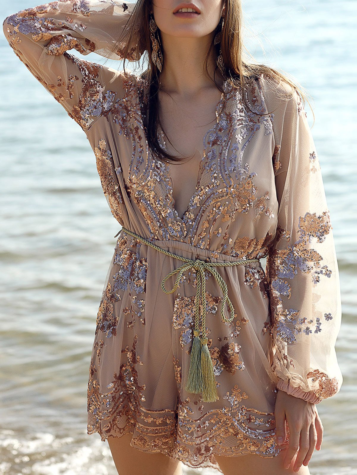 Plunging Neck Long Sleeve Sequins Waisted Romper