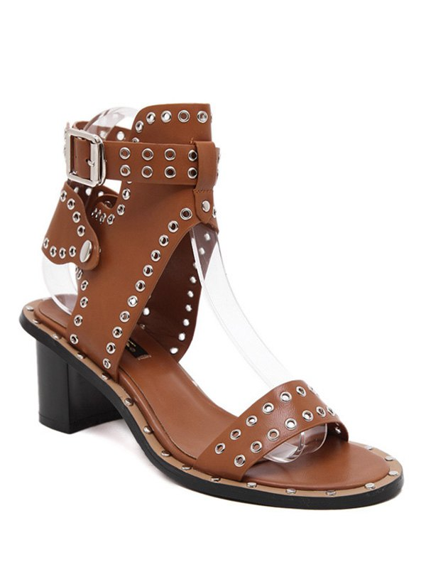 Eyelet PU Leather Chunky Heel Sandals