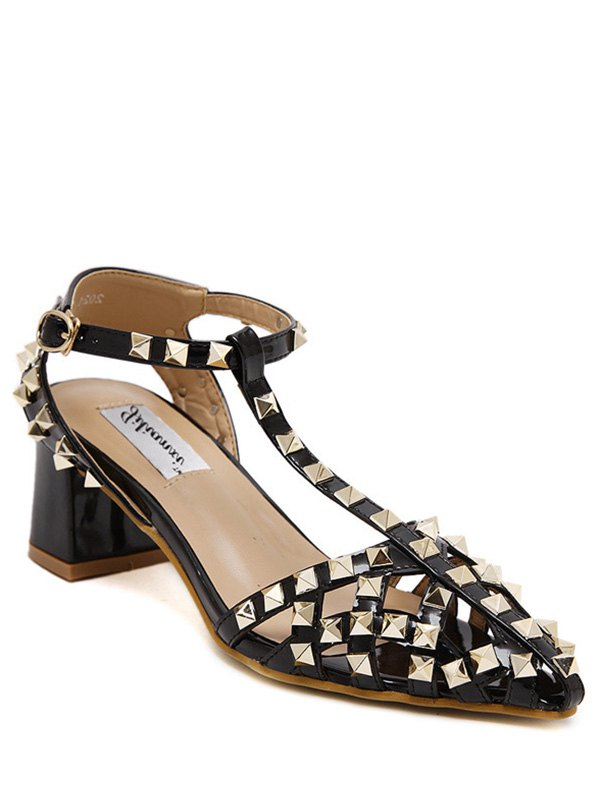 Rivet Closed Toe T-Strap Sandals