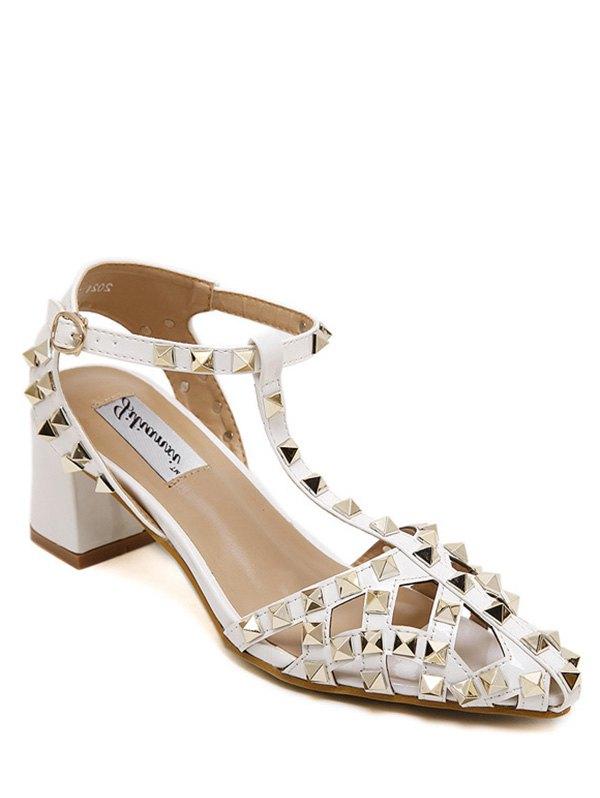 Buy Rivet Closed Toe T-Strap Sandals WHITE 36
