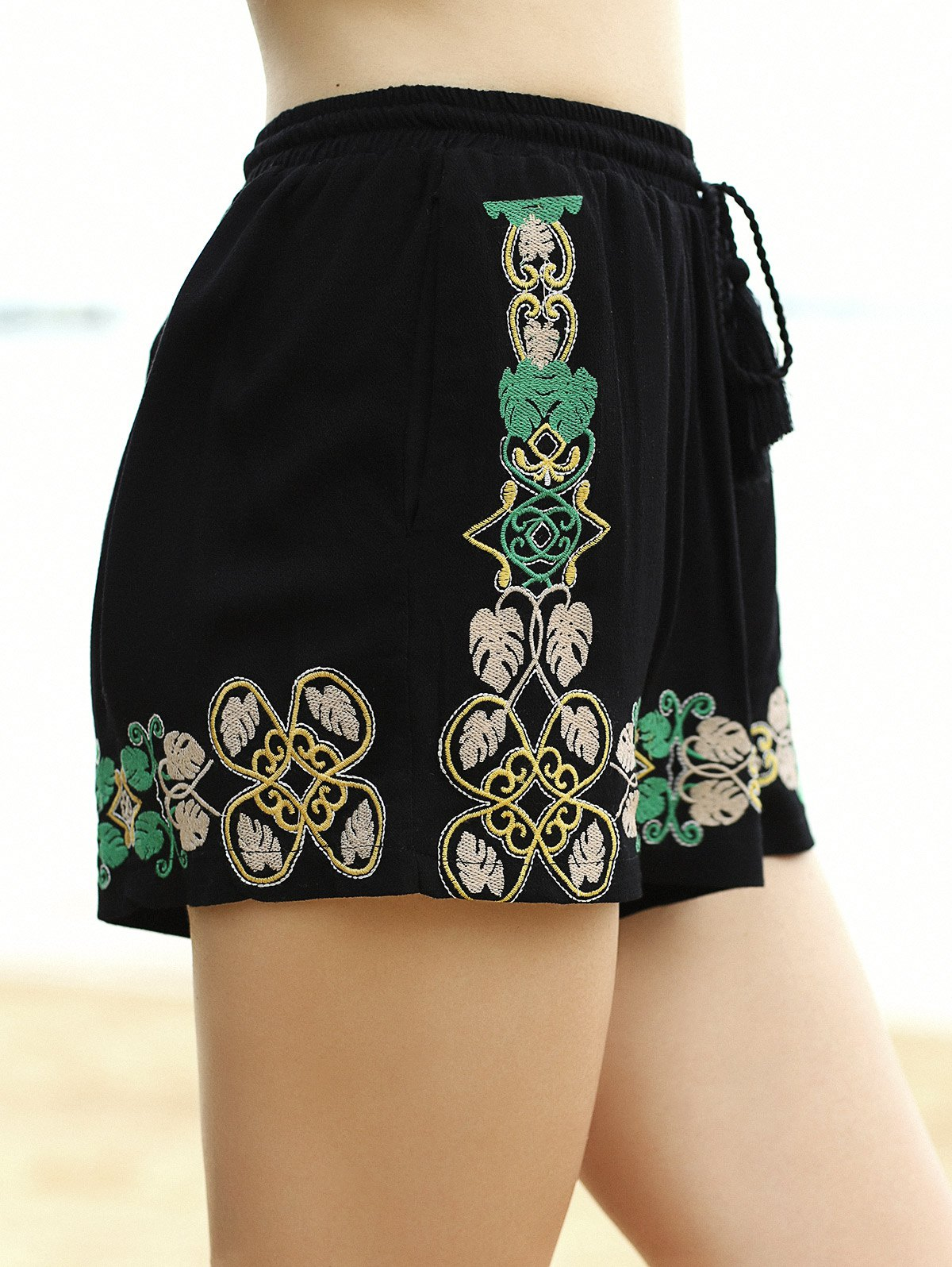 Elastic Waist Embroidery Wide Leg Shorts