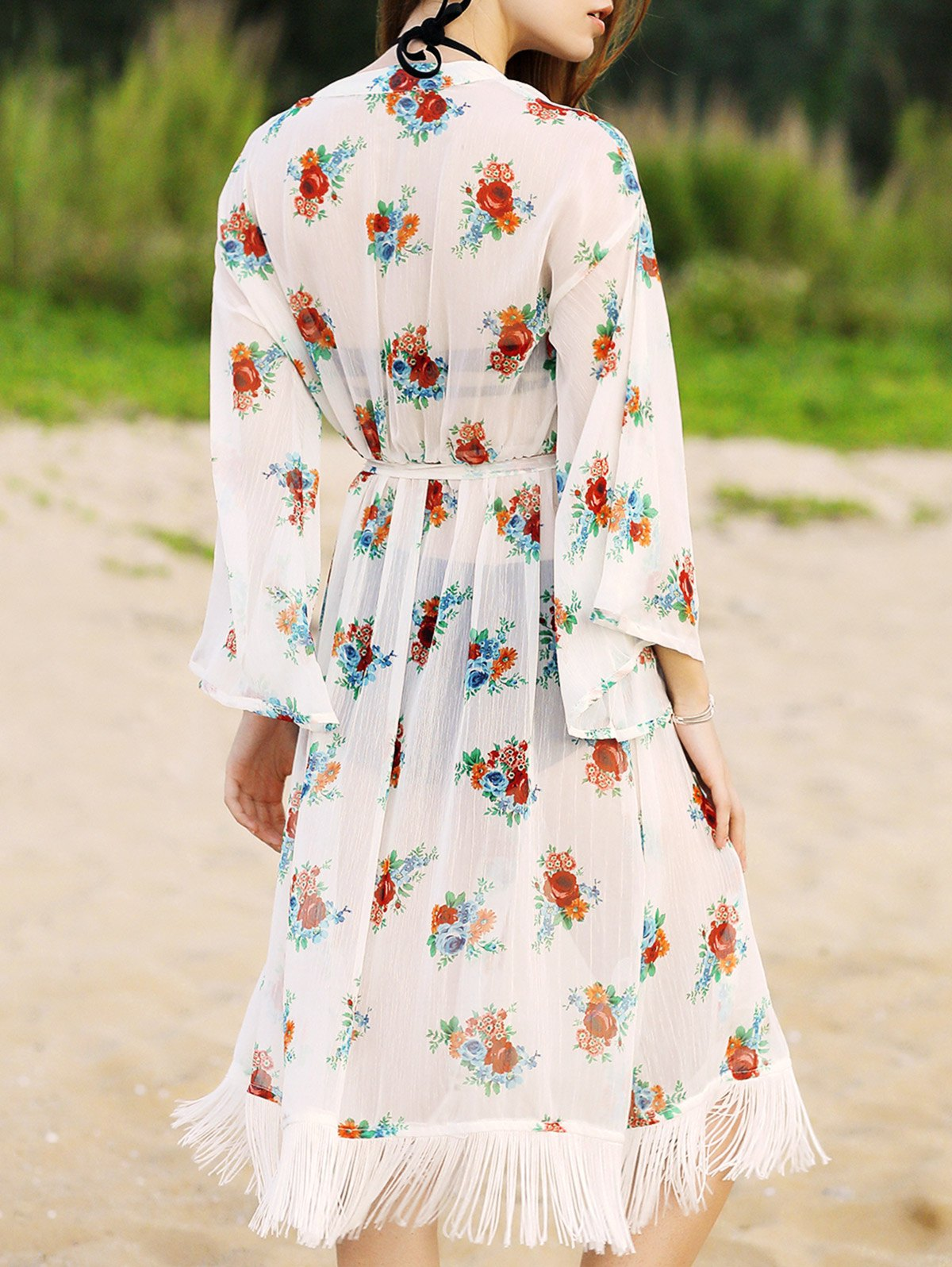 Long Sleeve Floral Print Waisted Long Cardigan