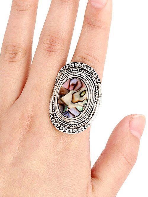 Faux Gem Embossed Oval Ring