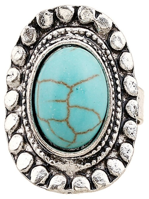 Faux Turquoise Oval Ring