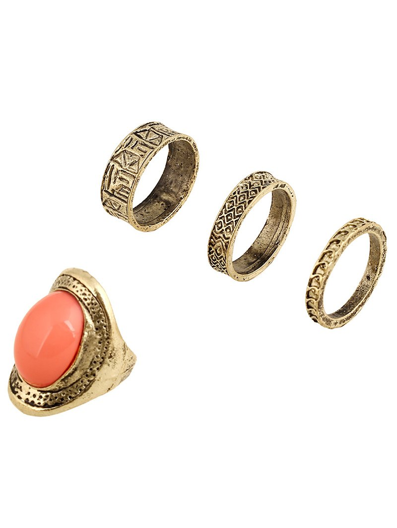 Faux Gem Embossed Alloy Rings