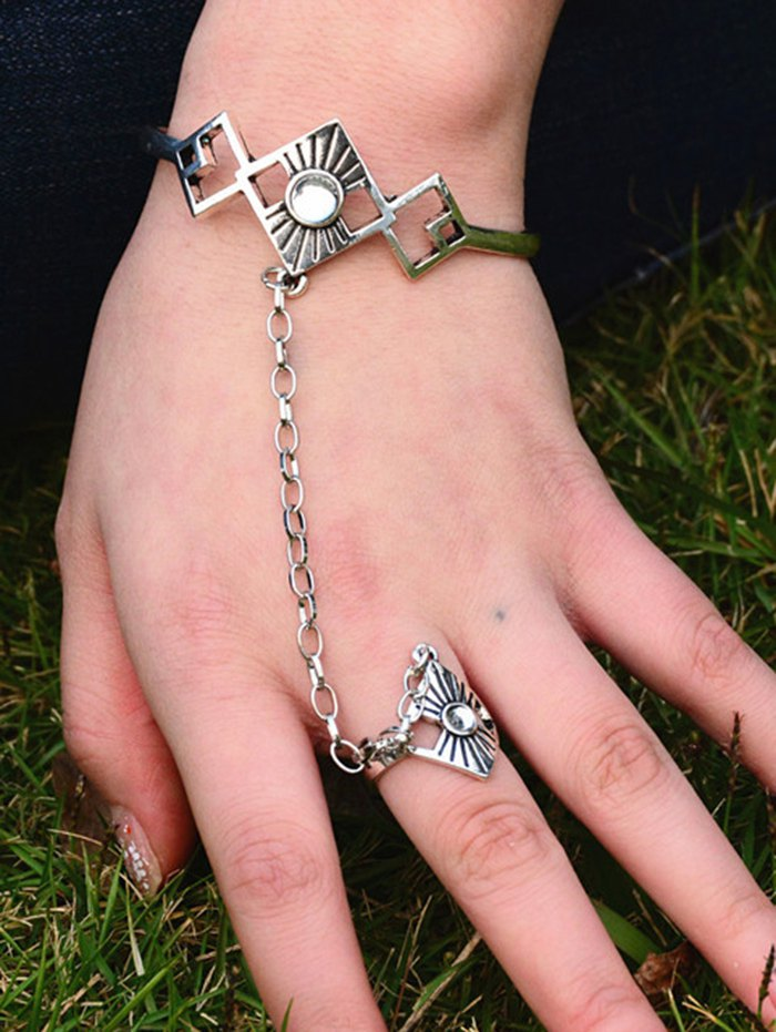 Hollowed Rhombus Opening Bracelet with Ring