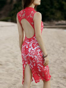 Cut-Out Back Robe En Dentelle Midi - Rouge