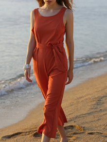 Bowknot Solid Color Round Neck Sleeveless Jumpsuit