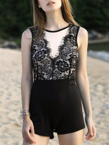 Lace Spliced Round Neck Sleeveless Romper