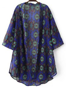 Print 3/4 Sleeve Chiffon Kimono Blouse