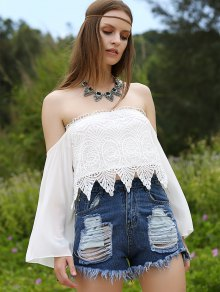 Off-The-Shoulder Lace Top - White Xl