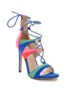 Lace-Up Color Block Stiletto Heel Sandals - Blue 36