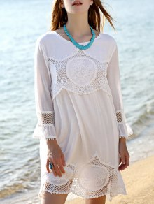Lace Patchwork White Dress
