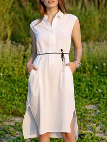Shirt Collar Belted Dress - White M