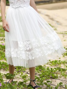 White Lace Spliced High Waist Skirt