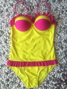 Hit Color Ruffles Cami One-Piece Swimwear