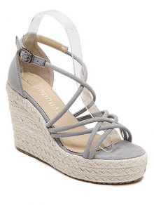 Cross-Strap Platform Wedge Heel Sandals - Light Gray 37