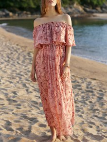 Off The Shoulder Floral Beach Maxi Dress - Pink