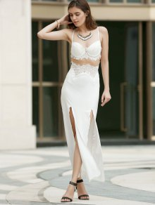 Spaghetti Strap Openwork Lace Splicing Slit Dress - WHITE S