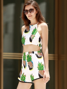 Pineapple Print Halter Crop Top and Shorts Suit