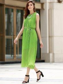 Green Pleated Tie-Up Sleeveless Maxi Dress
