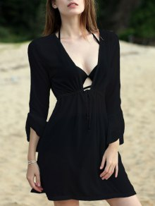 Pure Color Plunging Neck Half Sleeve Chiffon Dress