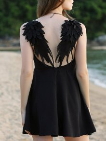 Wing Embroidery Sleeveless Flare Dress - Black M