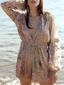 Sequins Plunging Neck Long Sleeve Waisted Romper - Champagne