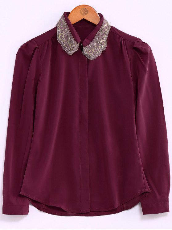 hot Embroidery Collar Loose Shirt - RED L